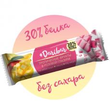 Протеиновый глазированный батончик 30% (Тропические фрукты  в розовой глазури), 40г