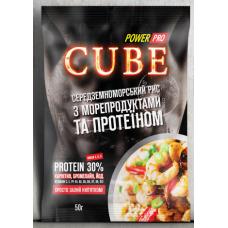 Каша CUBE рис с морепродуктами и протеином 30%, 50г
