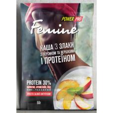 Каша Femine 3 злака с персиком и протеином 30%, 50г