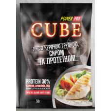 Каша CUBE рис с куриной грудкой, сыром и протеином 30%, 50г